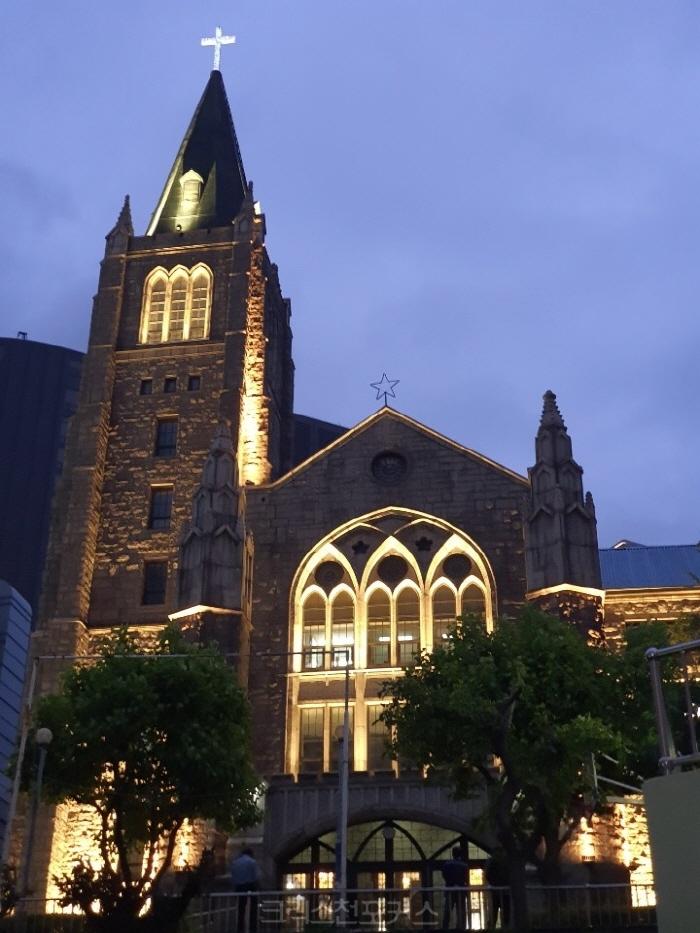 남대문교회, 서울의 야간경관 명소로 불 밝혀